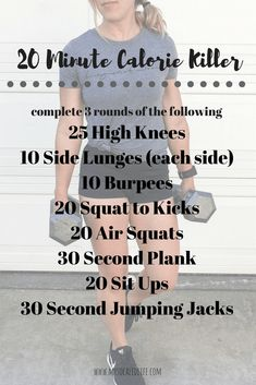 20 Minute Calorie Killing Workout workouts for women calorie killing workout at home workout gym workout cardio workout HIIT workout beginner workouts advanced wo. Fitness Workouts, Workout Cardio, Training Fitness, Cardio Training, Fitness Workout For Women, Fitness Motivation, No Equipment Workout, Fun Workouts, At Home Workouts