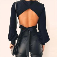 Solid Color Backless Puff Sleeve Crop Blouse Top – Lupsona Source by victoriafashionlove clothes outfits Black Women Fashion, Look Fashion, Fashion Beauty, Autumn Fashion, Fashion Outfits, Womens Fashion, Fashion Design, Fashion Tips, Fashion Trends