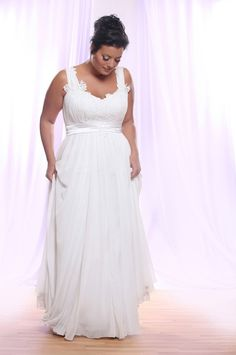 You can request this plus size bridal gown to have a long train, sleeves or be made with any other change you need.