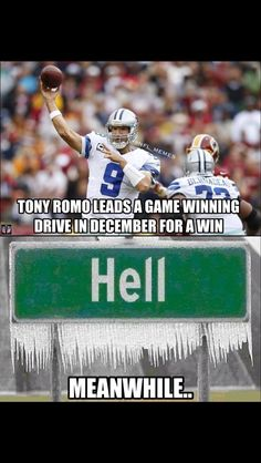 Ok, it's a little sad that just in the sports humor section about of the jokes are about tony romo. Funny Football Memes, Funny Nfl, Cowboys Memes, Nfl Memes, Sports Memes, Football Qoutes, Funny Sports, Tony Romo, Fantasy Football Logos