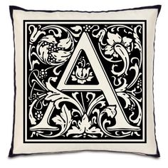 Digital Image Download Fabric Transfer Digital downloads- Your Choice Fancy Initial Monogram Letter for Pillows Totes Tea Towels Burlap