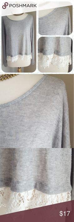 Anthropologie Karmen Knit Pullover Slightly sheer and perfectly ladylike, this heather grey pullover is the perfect answer to chilly summer nights and Netflix binges. Crew neck with lacey eyelet hem. By Maison Jules.  Size extra large. Excellent condition. Two slight snags in the back, but due to the fabric type they are absolutely unnoticeable (just being honest!). Anthropologie Tops Blouses