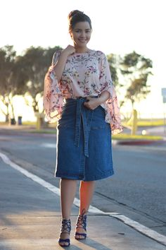 Our newest denim skirt, Erika is adorable! Pair it with a Kaitlyn top!
