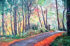 Elisa Figueroa Camino en el bosque, óleo de 120 x 80 cms, (pintura original, inspirada en fotografía)