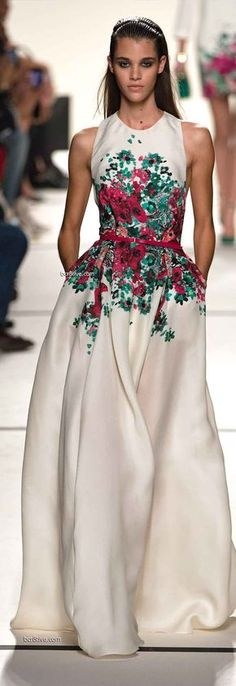 Elie Saab Spring 2014 RtW at Paris Fashion Week has the most beautiful dresses. And - with pockets!