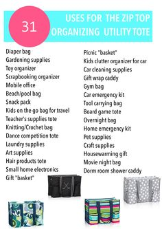 31 uses for the Zip Top Organizing Tote. Thirty-One Gifts 31 uses for the Zip … Thirty One Organization, Organizing Utility Tote, Scrapbook Organization, Tote Organization, School Organization, Organizing Ideas, Thirty One Uses, My Thirty One, Thirty One Gifts