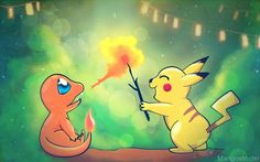 Charmander and Pikachu wallpaper - 50 Lovely Pokemon Wallpapers  <3 <3