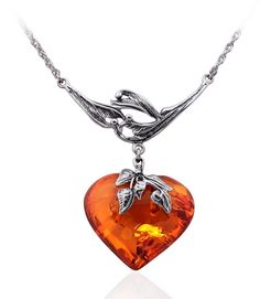 Honey Amber Heart & Sterling Silver Necklace