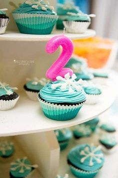 Cupcakes at a Frozen birthday party! See more party ideas at CatchMyParty.com!