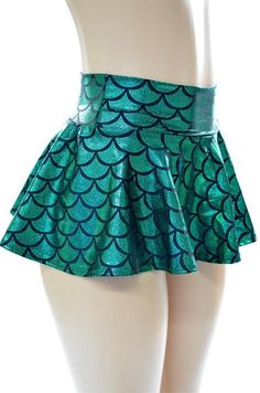 Shining green mermaid scales on a whirly twirly skirt that is made for dancing! The stretchy waistband sets at the natural waist or you can snug it down around