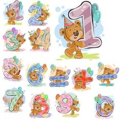 A set of vector illustrations with a brown teddy bear and numerals and mathematical symbols. Prints, templates, design elements for greeting cards, invitation cards, postcards - compre este vetor na Shutterstock e encontre outras imagens. Tatty Teddy, Bear Cartoon, Cute Cartoon, Anniversary Congratulations, Brown Teddy Bear, Bear Illustration, Watercolor Animals, Digi Stamps, Letters And Numbers
