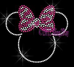 Zebra Hot Pink Bow - Minnie Mouse - Iron on Rhinestone Transfer Hot Fix Bling Kid Mom - DIY