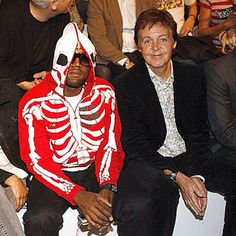 "Kanye West With Paul McCartney wearing his #Throwback LRG ""Dead Serious"" Hoody. #LoopLife"