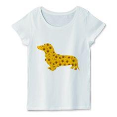 ひまわりのダックスTシャツ | デザインTシャツ通販 犬のデザインTシャツ - silhouette dogs by fooldesignのグッズ紹介★狭いシルエットの中にぎっしり夏の臭いのする花ひまわりを敷き詰めてみました。とってもアートで元気なイメージのデザインレディースTシャツです。カラーは各種ご用意。好きなカラーのTシャツとフェミニンスタイルにも合うオリジナルTシャツはいかが?  #ミニチュアダックスフンド