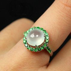 2 Carat Moon Stone Engagement Ring Tsavorite by SteveleeJewelry