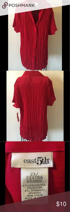 Women's bleated blouse/top Women's red pleated top, brand new never worn East 5th Tops Blouses