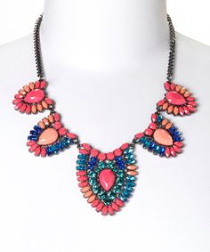 Pink & Blue Spring Crystal Bib Necklace » It's so pretty!