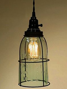 Mason Jar Open Bottom Pendant Light- Perfect in any Country, Rustic, Primitive, Industrial, or Shabby Chic decor.