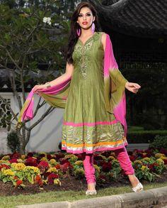 $95.24 Green Sleeve less Cotton Long Anarkali Salwar Kameez 21105
