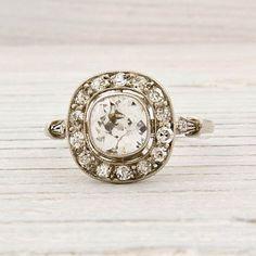 ErstwhileJewelry › Engagement Rings  Antique .70 Carat Old European Cut Diamond Engagement Ring