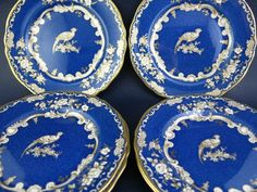 Beautiful Spode Gold Decorated Bird Pheasant Plates - Retailed by Tiffany & Co.