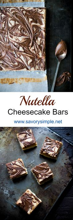 This recipe for Nutella Cheesecake Bars are the perfect dessert! You won't be able to stop eating them! Add this to your chocolate desserts and cake recipes board!