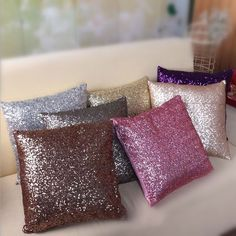 Fashion Luxurious Sequin Pillow Cushion Cover Zipper Pillow Case Home Car Sofa Throw Pillowcases Decor 7Colors BZ673634