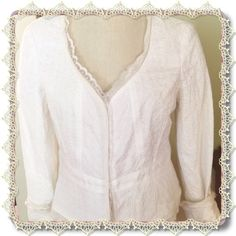 JACKET/TOP. NWT This is a Nine West Fitted Jacket/ Top in size 12. Brand new and ready to wear with that signature straight skirt or your designer jeans. It is called Happy Hour White and is 100% cotton with lining of 100% cotton exclusive of trim. Dry clean. Nine West Jackets & Coats