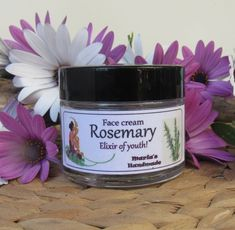 Facial Cream with Rosemary - Organic  It is considered to be the elixir of youth.  It's invigorating, antidepressant, aphrodisiac and antioxidant.  It stimulates the blood circulation and is recommended for weakness, fatigue, exhaustion, insomnia and stress.  It protects both the immune and lymphatic system.  It treats wounds, headaches and high blood pressure.  It also helps mental clarity and clear-thinking. Homemade Essential Oils, Lymphatic System, Facial Cream, Face Creams, Oral Hygiene, Jojoba Oil, Insomnia, Blood Pressure, Face And Body