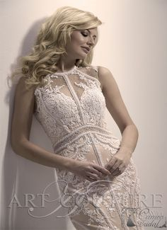 Boho chic dress with heavily symmetrical beadwork on the crew neck bodice and down the train. Bridal Gowns, Wedding Gowns, Bridal Gallery, 2015 Trends, Boutique Design, Dress Collection, Boho Chic, Ball Gowns, Couture