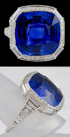 Platinum sapphire and diamond ring. Sapphire Ceylon - 17.30cts. ; Diamonds - 3.17cts. Modern. Top and side view.