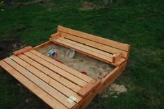 This is extremely clever. It's a sandbox with a lid that transforms into a pair of benches. So it prevents buried treasure from neighborhood kitties and provides seating.