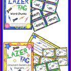 "Phonograms"" Word Chunks Lazer Tag! & Consonant Clusters and Digraphs (Lazer Tag Theme) Combo Kit Both sets"