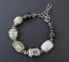 Lampwork and silver bracelet / 'Norwegian woods' / Grey and green