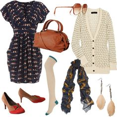 like the dress, sweater and bag but with different shoes