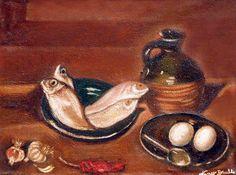 Natura morta (pesci) tecnica olio su tela 40x30cm