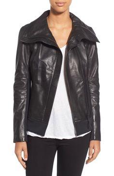 Rudsak 'Presley' Asymmetrical Zip Neoprene & Leather Moto Jacket available at #Nordstrom