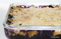 Blueberry Pineapple Dessert -- uses fresh blueberries, crushed pineapple, cake mix, and butter. Easy!!