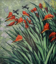 Crocosmia, original oil on canvas by Lewis Bryden | R. Michelson Galleries