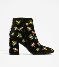 Zara Beaded Velvet Ankle Boots