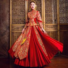 Fabric: Brocade Pattern: Dragon & Phoenix Embroidery Length: Full Length Silhouette: A-line Collar: Mandarin Collar Sleeve: Long Sleeve Perfect Wedding Dress, Wedding Dress Styles, Wedding Suits, Wedding Gowns, Chinese Wedding Dress Traditional, Traditional Dresses, Korean Bride, Dress Outfits, Fashion Dresses