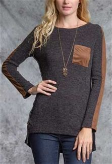 Ya Los Angeles Long Sleeve Shirt with Contrasting Faux Suede YL19035