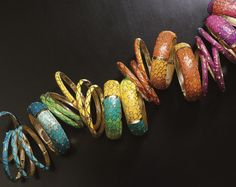 June Catalog | Sequin Feather Plume Bangles | Nordstrom