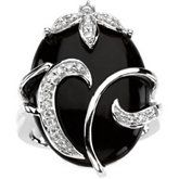 Onyx & Diamond Accented Floral Design Ring