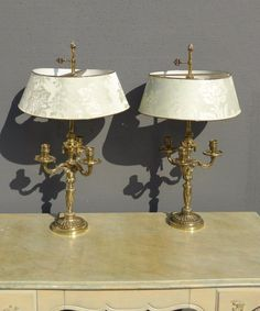 Pair vintage table lamps french provincial 30s 40s french pair vintage french provincial brass table lamps three arm candelabras w shade aloadofball Image collections