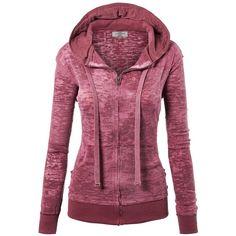 MBJ Womens Long Sleeve Burnout Thermal Zip Up Hoodie (€13) ❤ liked on Polyvore featuring tops, hoodies, thermal hoodie, purple hoodie, long sleeve hoodies, long sleeve tops and hooded sweatshirt