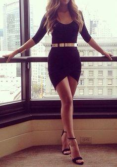 Black Plain Belt Irregular Elbow Sleeve Dress