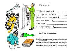 Kleine woordenschatoefening / Petit exercice de vocabulaire - Oplossingen / Solutions : boek, schaar, kwast, verven, lezen, knippen