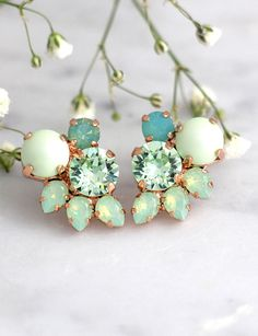 Mint Earrings, Mint Stud Earrings, Bridal Earrings, Mint Bridal Earrings, Bridesmaids Earrings, Mint Opal Earrings, Mint Green Earrings  These fabulous vintage inspired earrings can be worn in a variety of ways for many occasions. The classic styling & Crystals make these earrings timeless.  Details : ♥ U.S packages shipped via USPS® insured+USPS® tracking number ♥ 1 year guarantee ♥ Materials- 14k Gold or silver Plated over brass CRYSTALLIZED™ Swarovski Element ♥ Post on top ♥ Size appro...