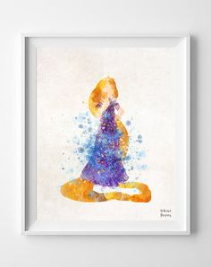 Rapunzel Print Kunst Disney Aquarell Malerei von InkistPrints